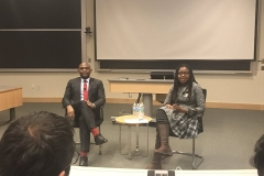 Nigerian Entrepreneur Tony Elumelu gives a speech at MIT with Legatum Fellow Doreen Mashu